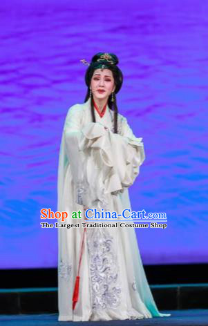 Chinese Shaoxing Opera Bronze Swallow Terrace Xiao Qiao White Dress Stage Performance Dance Costume and Headpiece for Women