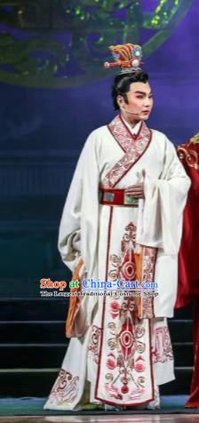 Chinese Shaoxing Opera Bronze Swallow Terrace Prince Cao Pi White Clothing Stage Performance Dance Costume for Men