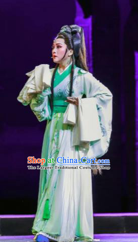 Chinese Shaoxing Opera Bronze Swallow Terrace Zhen Luo Green Dress Stage Performance Dance Costume and Headpiece for Women