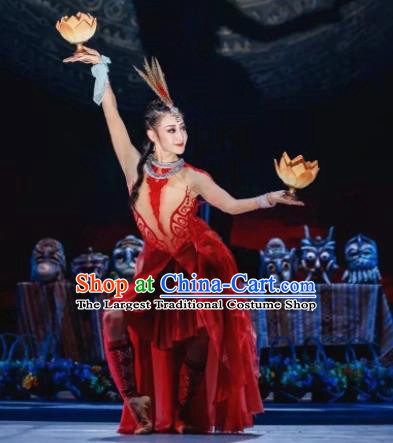 Menogga Garden Chinese Classical Dance Red Dress Stage Performance Dance Costume and Headpiece for Women