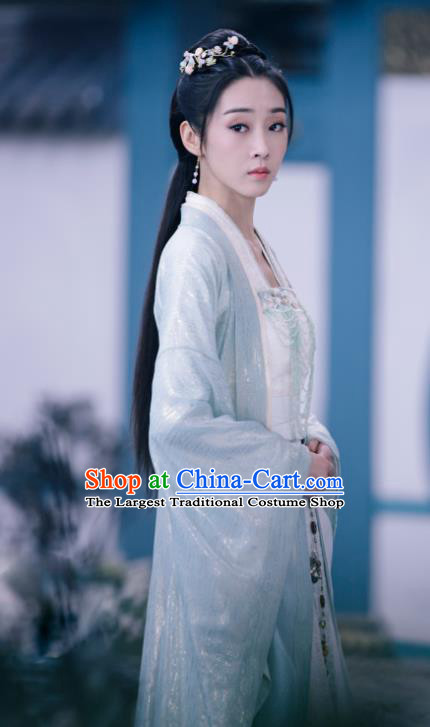 The Untamed Chinese Drama Ancient Female Swordsman Jiang Yanli Green Costumes and Headpiece Complete Set for Women