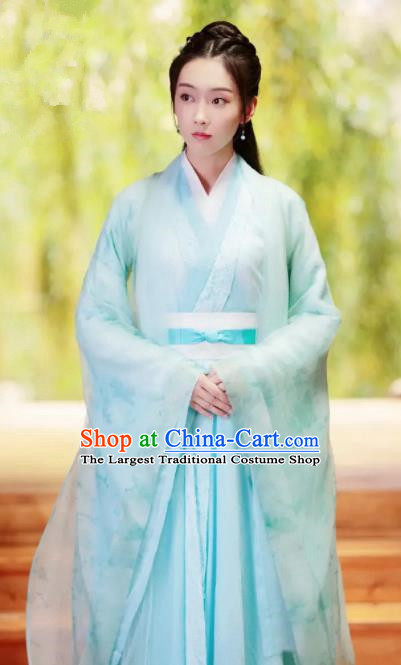 The Untamed Chinese Drama Ancient Swordsman Wen Qing Green Costumes and Headpiece for Women