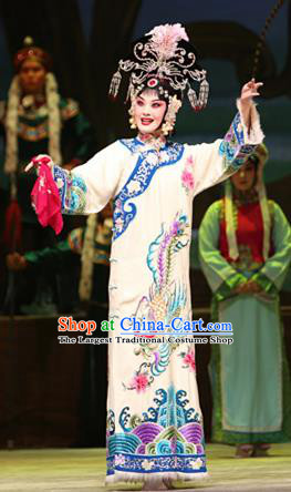 Su Wu In Desert Chinese Peking Opera Imperial Consort White Dress Stage Performance Dance Costume and Headpiece for Women