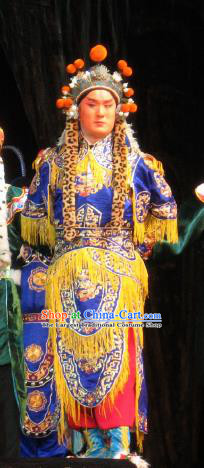 Su Wu In Desert Chinese Beijing Opera Takefu Blue Clothing Stage Performance Dance Costume and Headpiece for Men