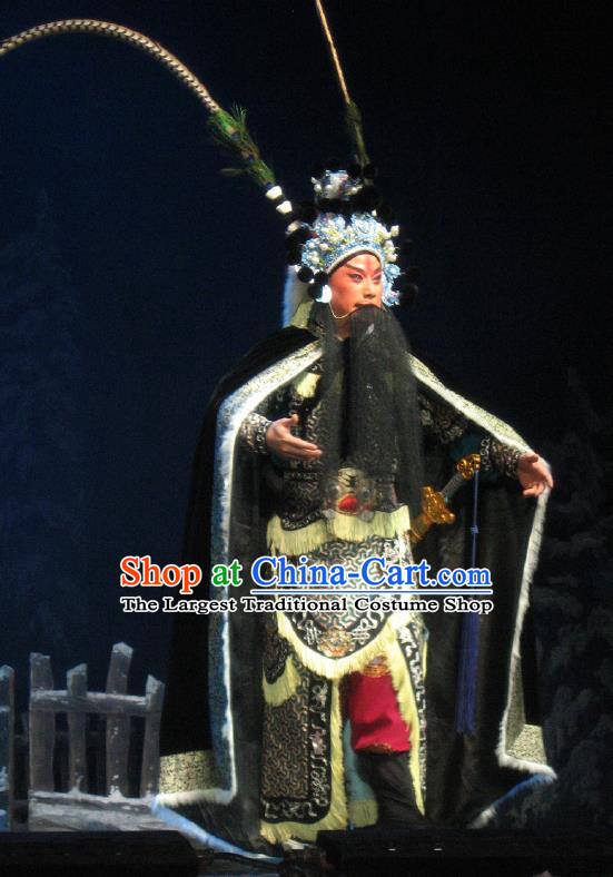 Su Wu In Desert Chinese Beijing Opera General Black Clothing Stage Performance Dance Costume and Headpiece for Men