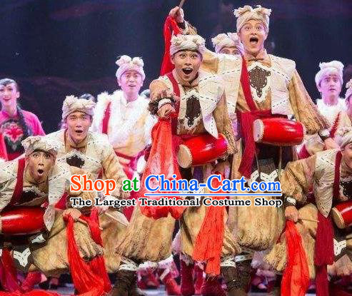 Drama Lan Huahua Chinese Folk Dance Drum Dance Clothing Stage Performance Dance Costume and Headpiece for Men