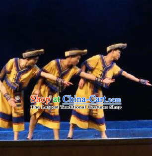Goddess Ya Song Chinese Zhuang Nationality Dance Yellow Clothing Stage Performance Dance Costume and Headpiece for Men