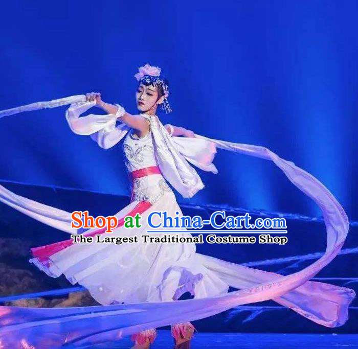 Goddess of the Moon Chinese Classical Dance Long Ribbon Dress Stage Performance Dance Costume and Headpiece for Women