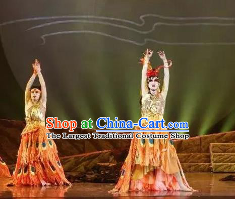 Goddess of the Moon Chinese Classical Dance Peacock Dress Stage Performance Dance Costume and Headpiece for Women