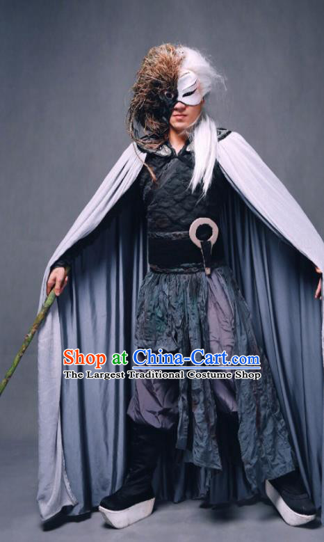 Goddess of the Moon Chinese Classical Dance Swordsman Clothing Stage Performance Dance Costume and Headpiece for Men