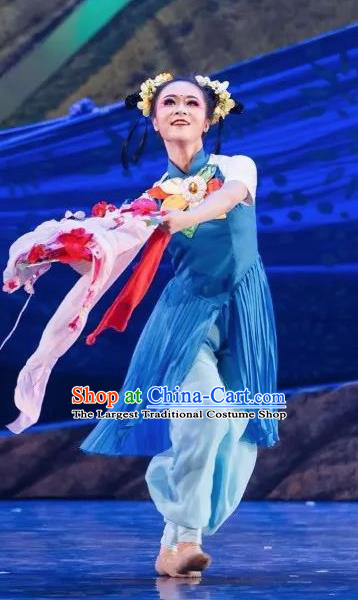 Goddess of the Moon Chinese Classical Dance Blue Dress Stage Performance Dance Costume and Headpiece for Women