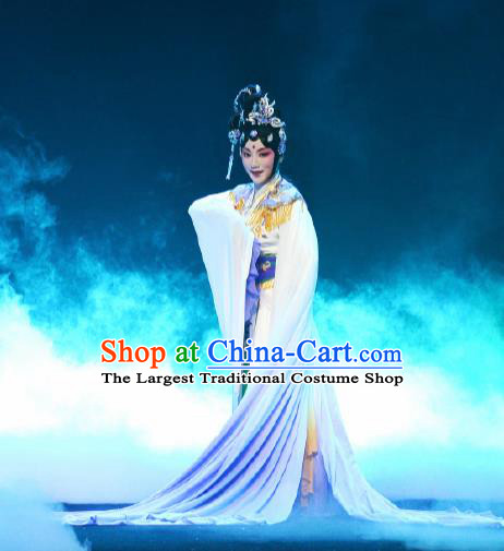 Goddess of the Moon Chinese Peking Opera Diva Dress Stage Performance Dance Costume and Headpiece for Women