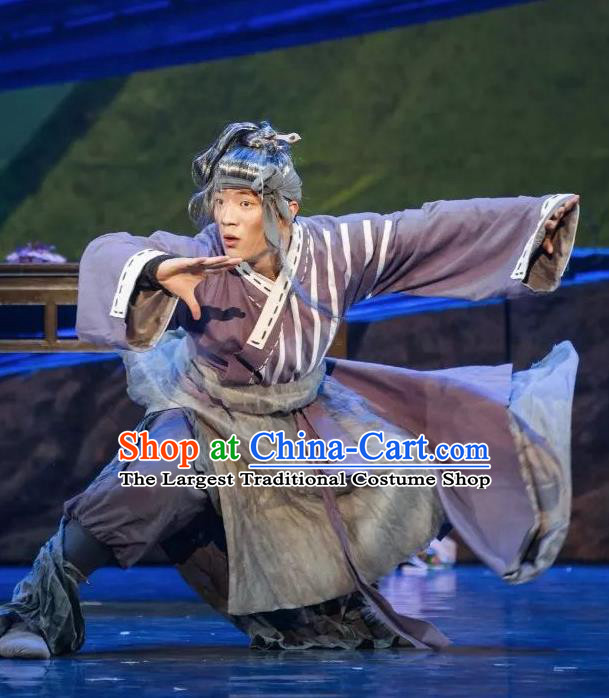 Goddess of the Moon Chinese Classical Dance Purple Clothing Stage Performance Dance Costume and Headpiece for Men