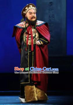 Mei Hua Zan Chinese Beijing Opera Minister Clothing Stage Performance Dance Costume and Headpiece for Men