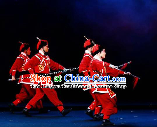Mei Hua Zan Chinese Beijing Opera Takefu Red Clothing Stage Performance Dance Costume and Headpiece for Men