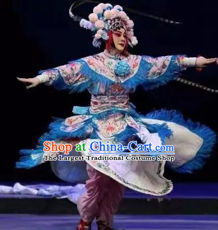 Fan Lihua Chinese Han Opera Blues Pink Dress Stage Performance Dance Costume and Headpiece for Women