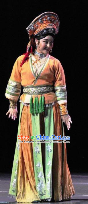 Drama Qian Yun Cliff Chinese Zhuang Nationality Orange Dress Stage Performance Dance Costume and Headpiece for Women