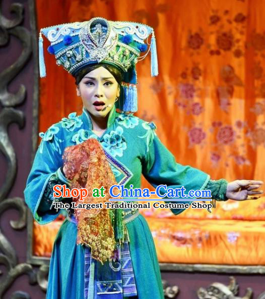 Drama Qian Yun Cliff Chinese Zhuang Nationality Green Dress Stage Performance Dance Costume and Headpiece for Women
