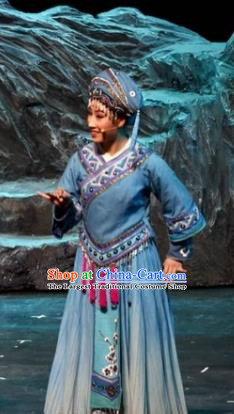 Drama Qian Yun Cliff Chinese Zhuang Nationality Dress Stage Performance Dance Costume and Headpiece for Women