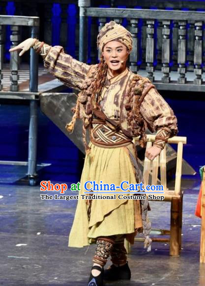 Drama Qian Yun Cliff Chinese Zhuang Nationality Youth Ginger Clothing Stage Performance Dance Costume and Headpiece for Men