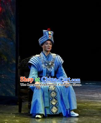 Drama Qian Yun Cliff Chinese Zhuang Nationality Bridegroom Blue Clothing Stage Performance Dance Costume and Headpiece for Men