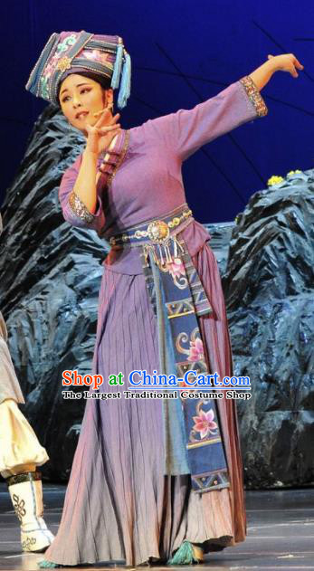 Drama Qian Yun Cliff Chinese Zhuang Nationality Dance Purple Dress Stage Performance Costume and Headpiece for Women