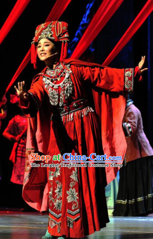 Drama Qian Yun Cliff Chinese Zhuang Nationality Bride Red Dress Stage Performance Dance Costume and Headpiece for Women