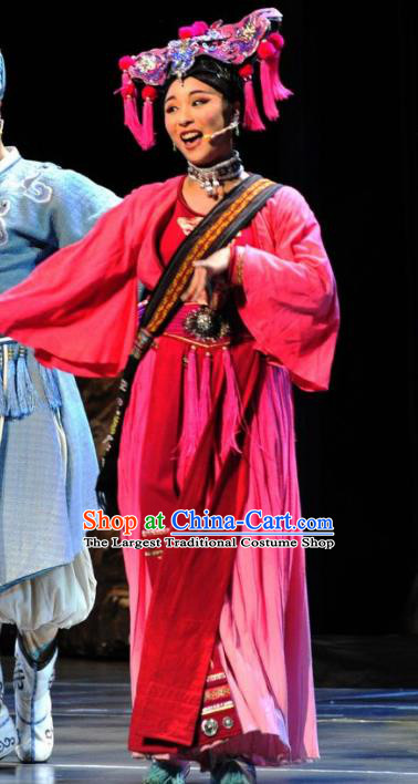 Drama Qian Yun Cliff Chinese Zhuang Nationality Rosy Dress Stage Performance Dance Costume and Headpiece for Women