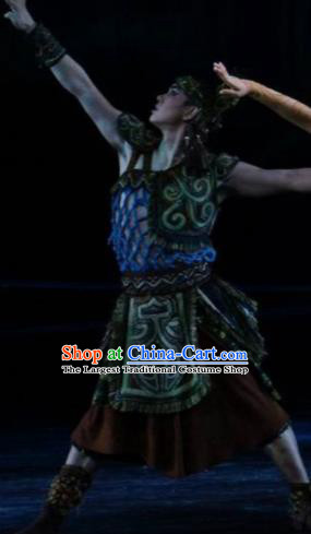 Hundred Bird Dress Chinese Zhuang Ethnic Dance Clothing Stage Performance Dance Costume and Headpiece for Men