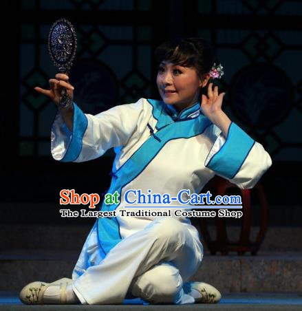 Shi Niang Chinese Folk Dance White Dress Stage Performance Dance Costume and Headpiece for Women