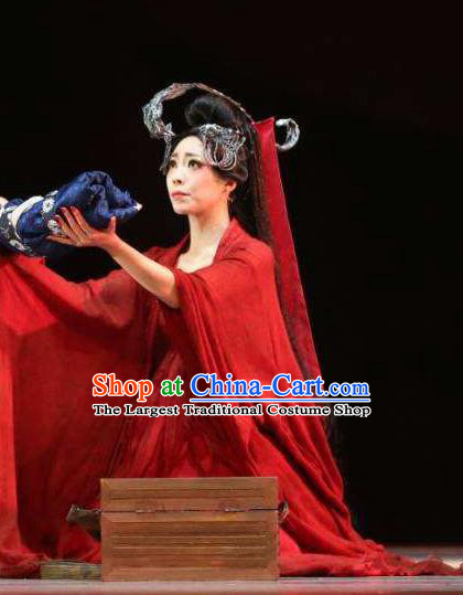Chinese Orphan Classical Dance Red Dress Stage Performance Dance Costume and Headpiece for Women