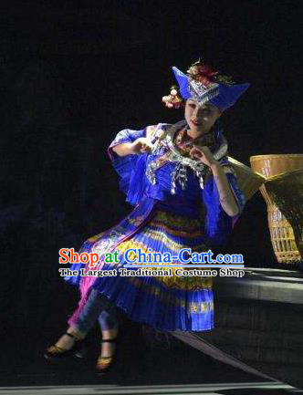 Hometown of Dragon Boat Tune Chinese Tujia Nationality Dance Blue Dress Stage Performance Dance Costume and Headpiece for Women
