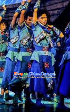 Hometown of Dragon Boat Tune Chinese Tujia Nationality Blue Clothing Stage Performance Dance Costume and Headpiece for Men