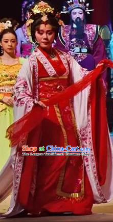 Amber Fate Chinese Beijing Opera Queen Red Dress Stage Performance Dance Costume and Headpiece for Women