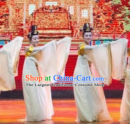 Ganzhou Musical Dance Chinese Classical Dance White Dress Stage Performance Dance Costume and Headpiece for Women