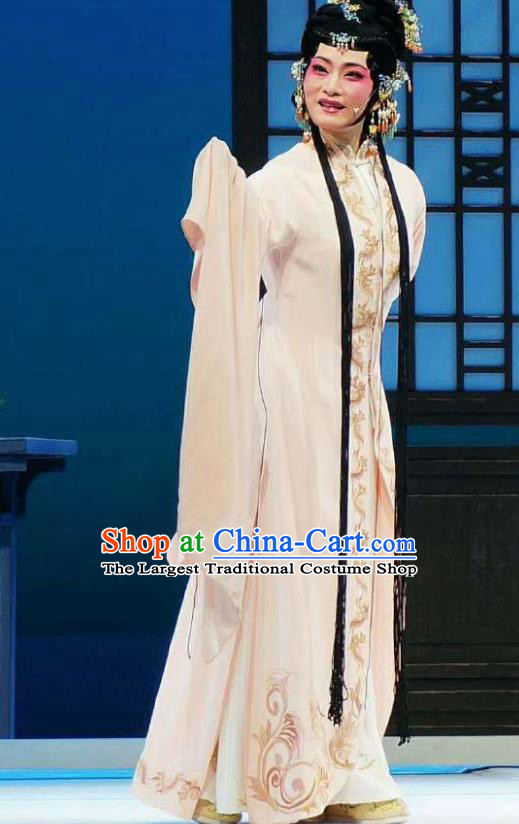 Xiang Luo Ji Chinese Shaoxing Opera Beige Dress Stage Performance Dance Costume and Headpiece for Women