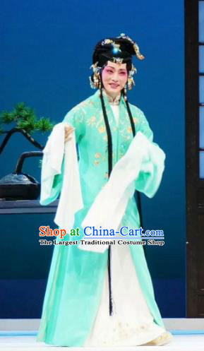 Xiang Luo Ji Chinese Shaoxing Opera Green Dress Stage Performance Dance Costume and Headpiece for Women