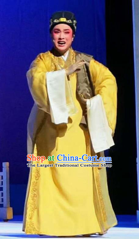 Amber Fate Chinese Shaoxing Opera Niche Yellow Clothing Stage Performance Dance Costume and Headpiece for Men