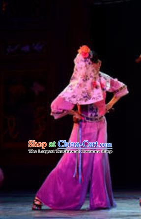 Gucuo Marriage Chinese Folk Dance Dress Stage Performance Dance Costume and Headpiece for Women
