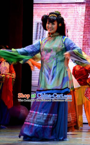 Gucuo Marriage Chinese Folk Dance Blue Dress Stage Performance Dance Costume and Headpiece for Women