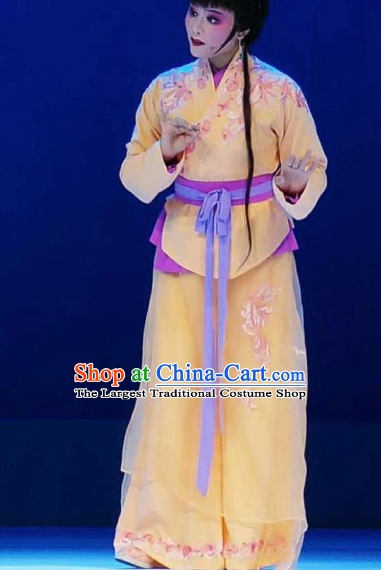 Xiang Luo Ji Chinese Shaoxing Opera Maidservant Yellow Dress Stage Performance Dance Costume and Headpiece for Women