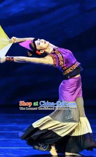 Da Liang Mountains Echo Chinese Yi Nationality Dance Purple Dress Stage Performance Costume and Headpiece for Women