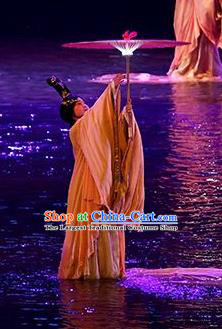 Return To the Three Gorges Chinese Classical Dance Dress Stage Performance Costume and Headpiece for Women