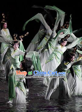 Return To the Three Gorges Chinese Classical Dance Water Sleeve Dress Stage Performance Costume and Headpiece for Women