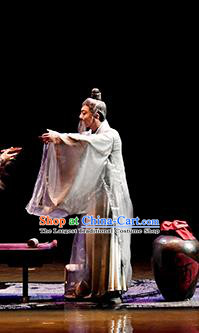 Return To the Three Gorges Chinese Ancient Old Scholar Clothing Stage Performance Dance Costume for Men