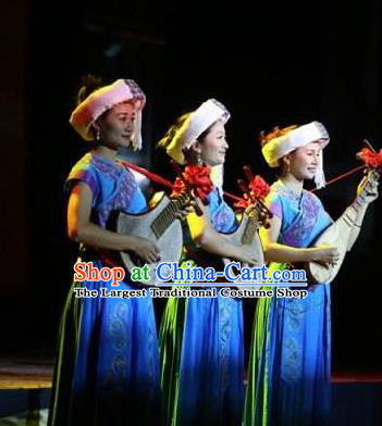 Buyi Ba Yin Chinese Bouyei Nationality Folk Dance Blue Dress Stage Performance Dance Costume and Headpiece for Women