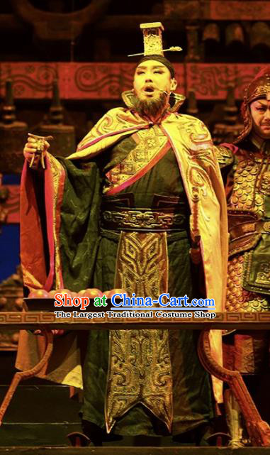 Cai Wenji Chinese Opera Ancient Han Dynasty Emperor Clothing Stage Performance Dance Costume and Headpiece for Men