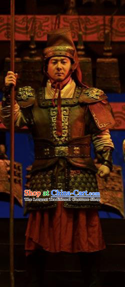 Cai Wenji Chinese Opera Ancient Han Dynasty General Clothing Stage Performance Dance Costume and Headpiece for Men