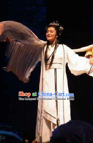 Cai Wenji Chinese Opera Ancient Poetess White Dress Stage Performance Dance Costume and Headpiece for Women