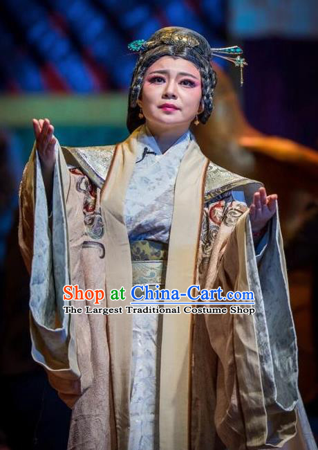 Cai Wenji Chinese Opera Ancient Royal Dowager Dress Stage Performance Dance Costume and Headpiece for Women